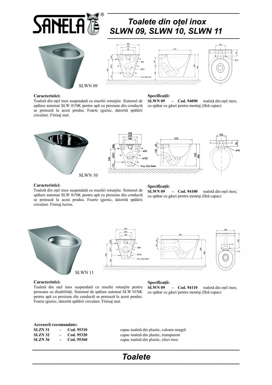 Pagina 1 - Toaleta din otel-inox SANELA SLWN 09, SLWN 10, SLWN 11 Fisa tehnica Romana Toalete din...