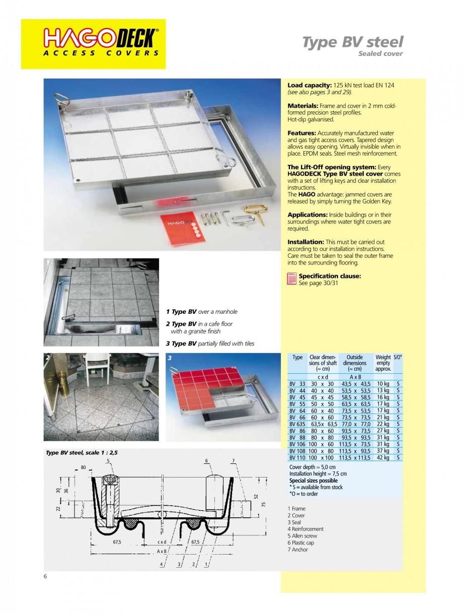 Pagina 6 - Capace pentru camine de vizitare HAGODECK B STEEL, BV-GD AUTOMATIC STEEL, BV-GDZ...