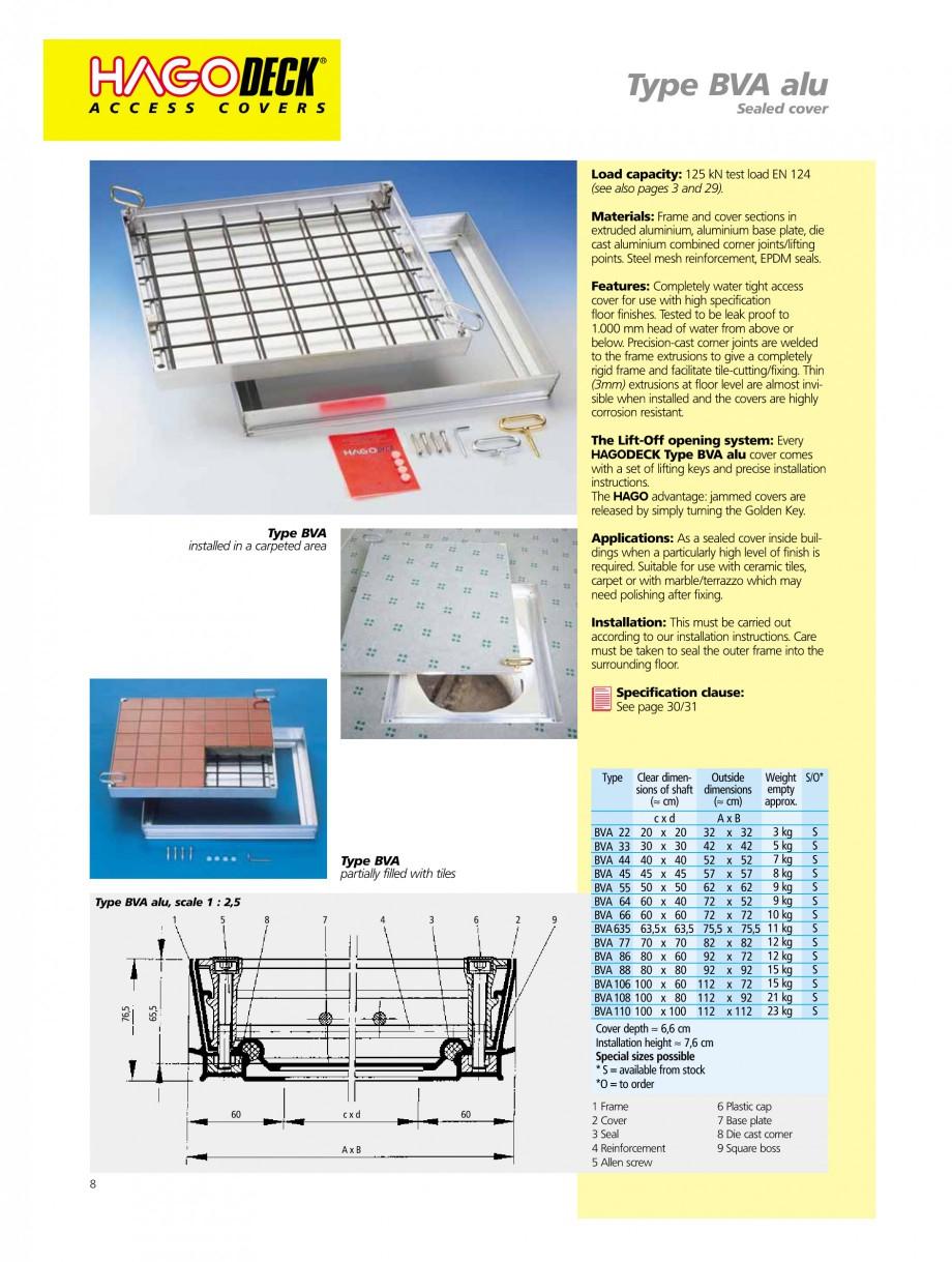 Pagina 8 - Capace pentru camine de vizitare HAGODECK B STEEL, BV-GD AUTOMATIC STEEL, BV-GDZ...