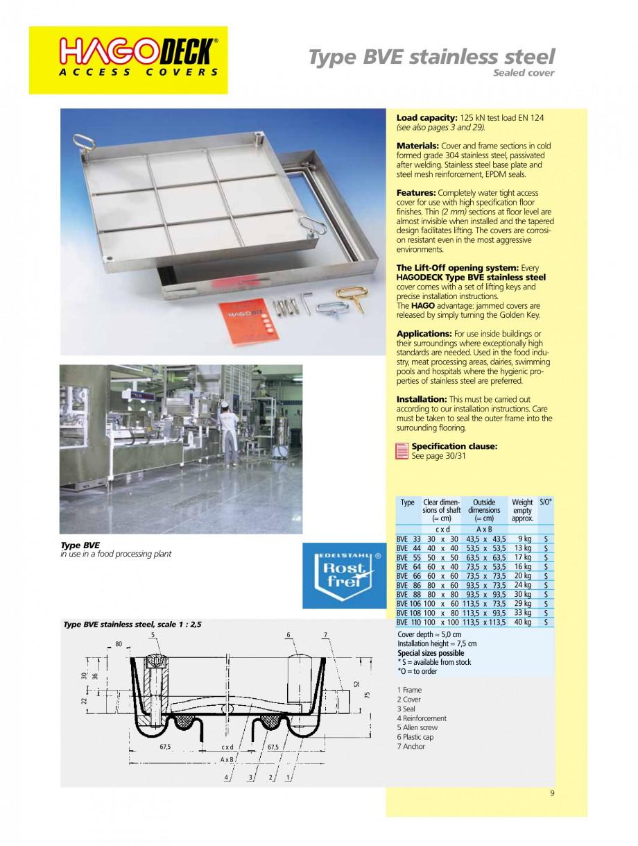 Pagina 9 - Capace pentru camine de vizitare HAGODECK B STEEL, BV-GD AUTOMATIC STEEL, BV-GDZ...