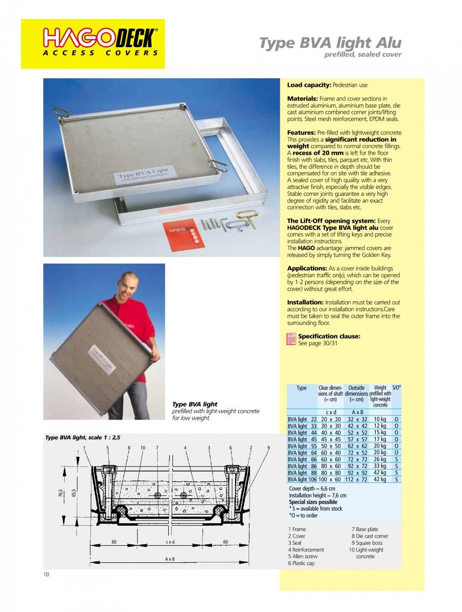 Pagina 10 - Capace pentru camine de vizitare HAGODECK B STEEL, BV-GD AUTOMATIC STEEL, BV-GDZ...