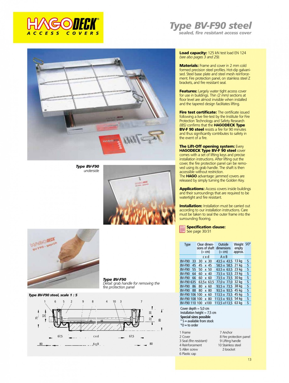 Pagina 13 - Capace pentru camine de vizitare HAGODECK B STEEL, BV-GD AUTOMATIC STEEL, BV-GDZ...
