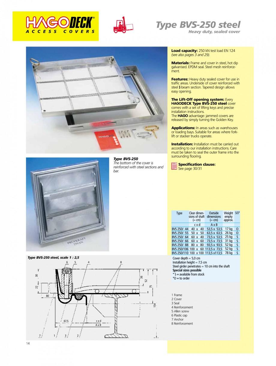Pagina 14 - Capace pentru camine de vizitare HAGODECK B STEEL, BV-GD AUTOMATIC STEEL, BV-GDZ...