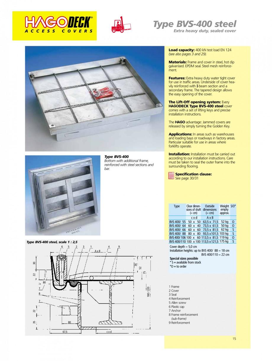 Pagina 15 - Capace pentru camine de vizitare HAGODECK B STEEL, BV-GD AUTOMATIC STEEL, BV-GDZ...