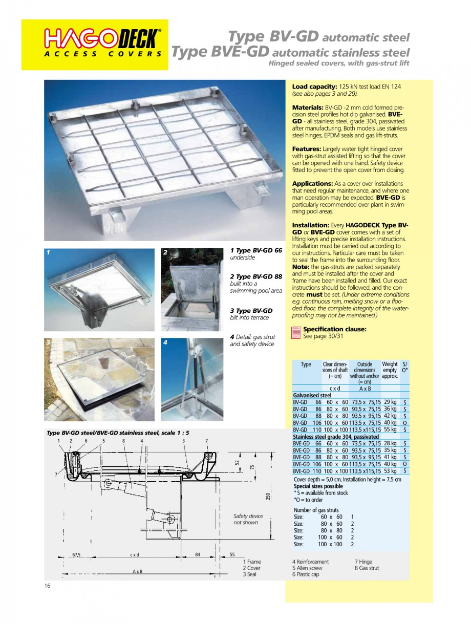 Pagina 16 - Capace pentru camine de vizitare HAGODECK B STEEL, BV-GD AUTOMATIC STEEL, BV-GDZ...