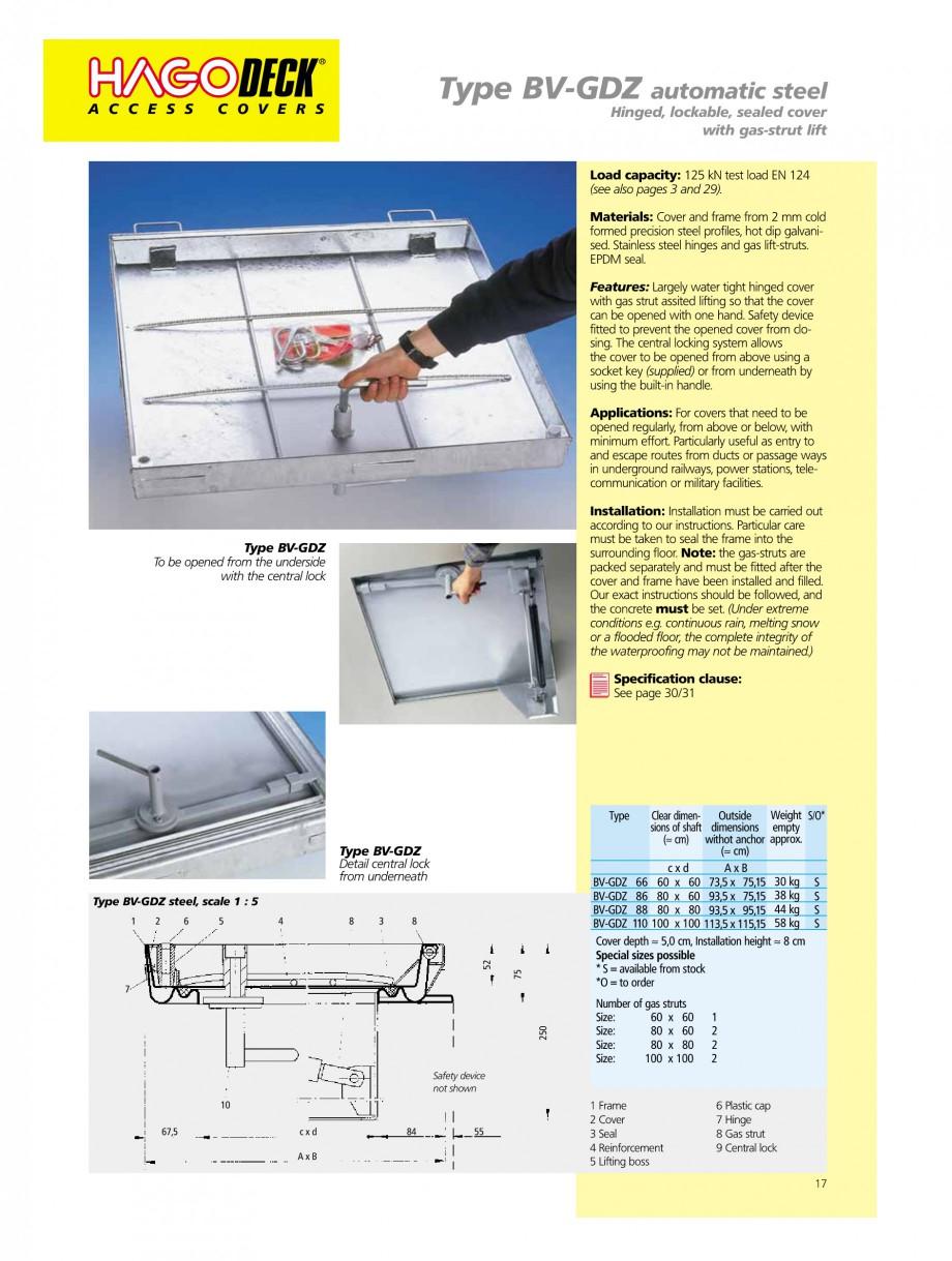 Pagina 17 - Capace pentru camine de vizitare HAGODECK B STEEL, BV-GD AUTOMATIC STEEL, BV-GDZ...