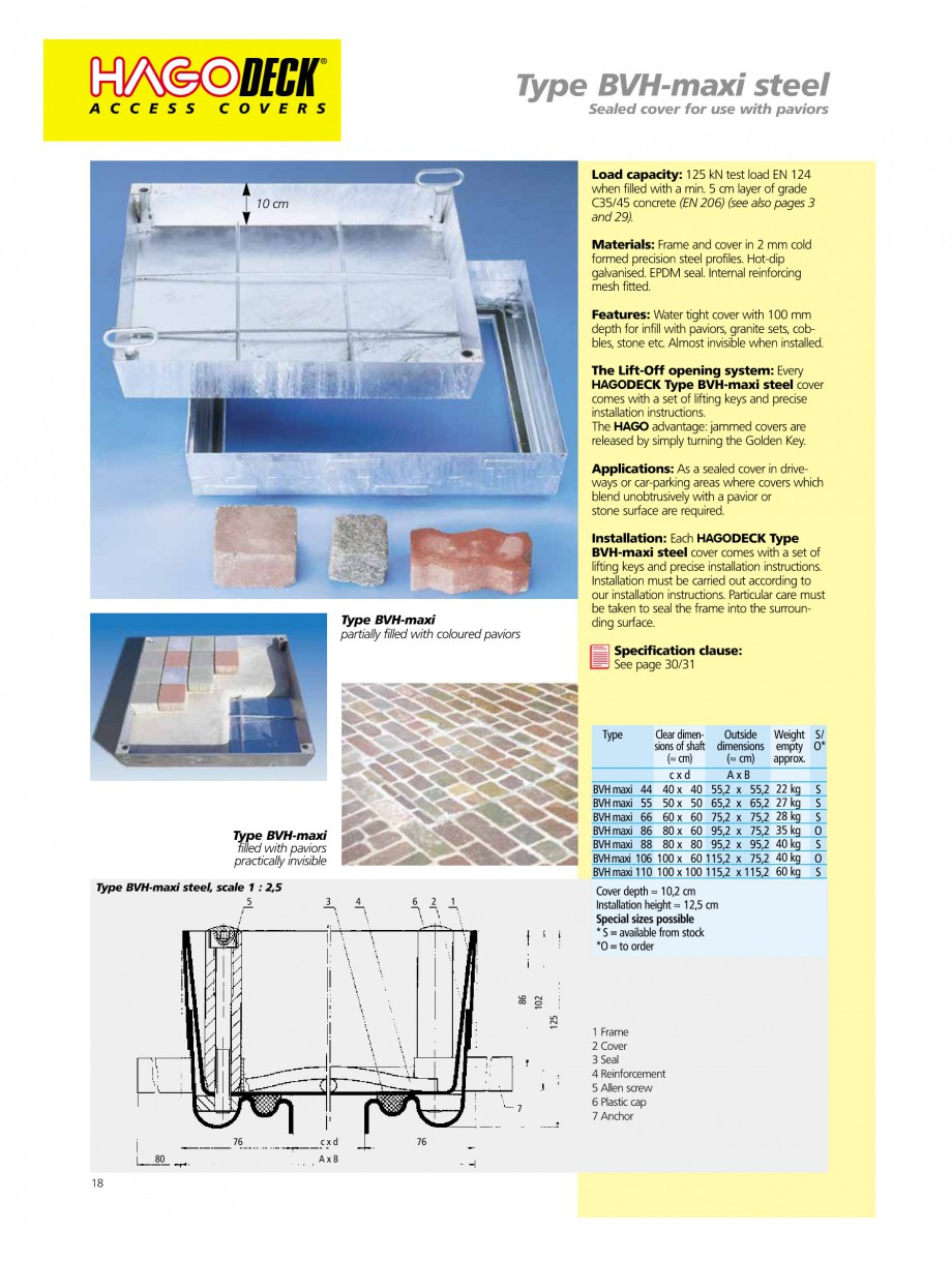 Pagina 18 - Capace pentru camine de vizitare HAGODECK B STEEL, BV-GD AUTOMATIC STEEL, BV-GDZ...