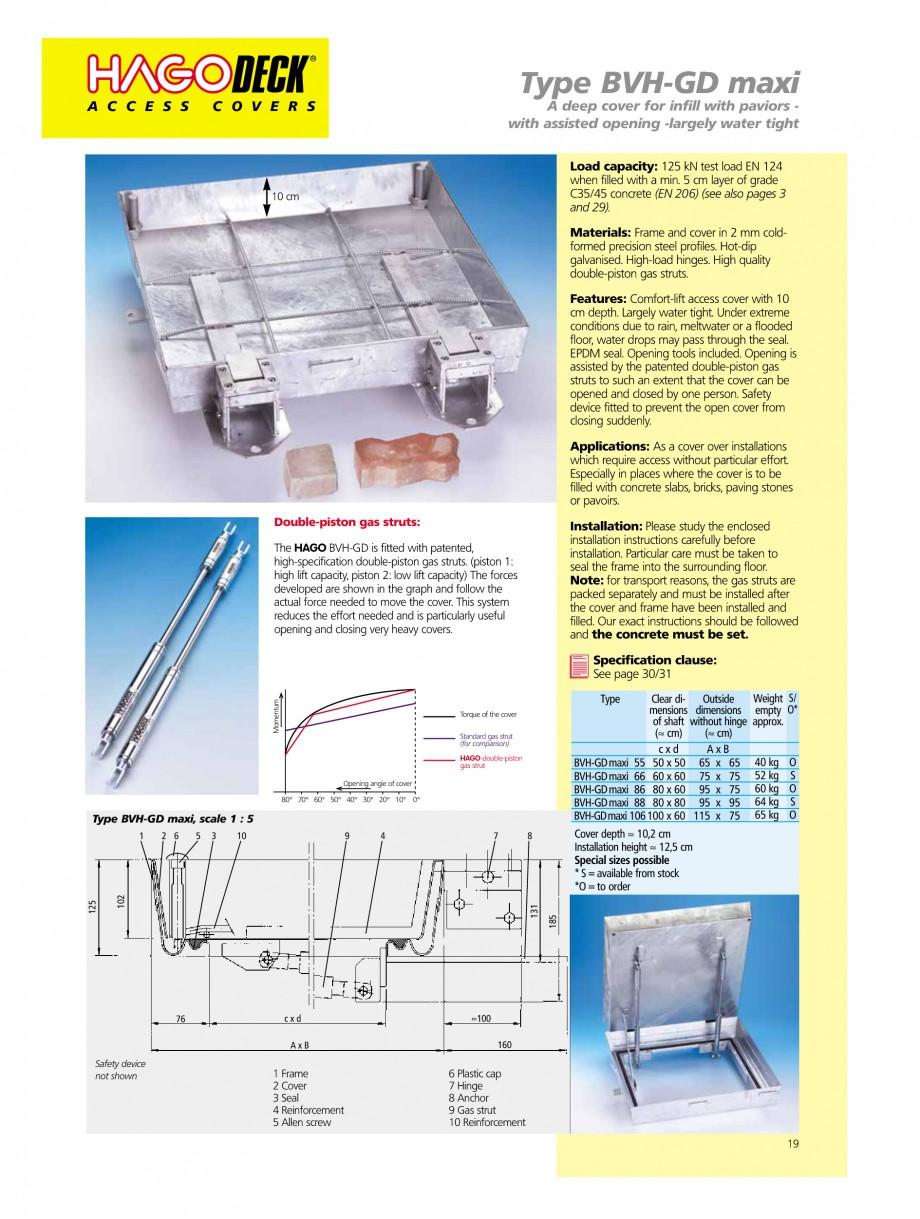 Pagina 19 - Capace pentru camine de vizitare HAGODECK B STEEL, BV-GD AUTOMATIC STEEL, BV-GDZ...