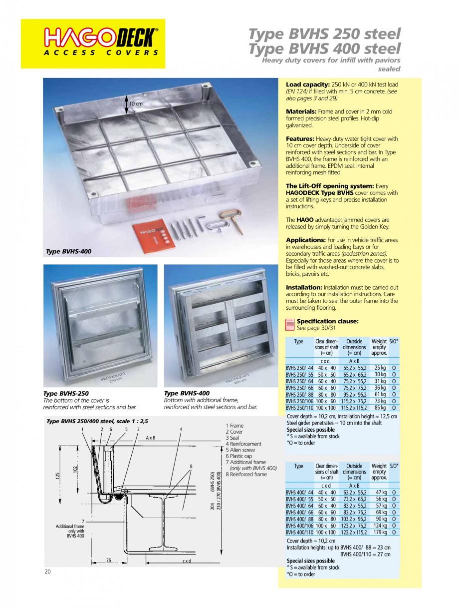 Pagina 20 - Capace pentru camine de vizitare HAGODECK B STEEL, BV-GD AUTOMATIC STEEL, BV-GDZ...
