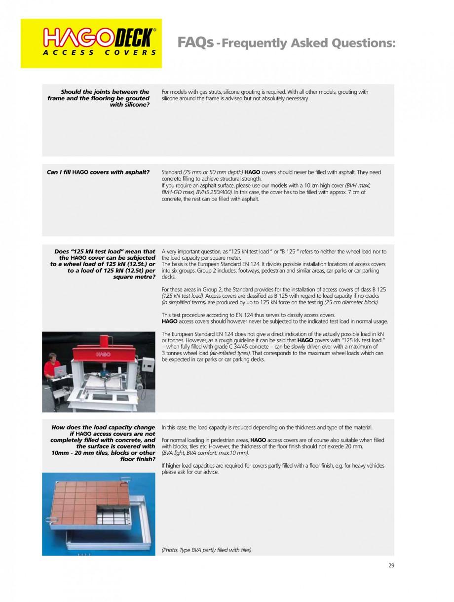 Pagina 29 - Capace pentru camine de vizitare HAGODECK B STEEL, BV-GD AUTOMATIC STEEL, BV-GDZ...