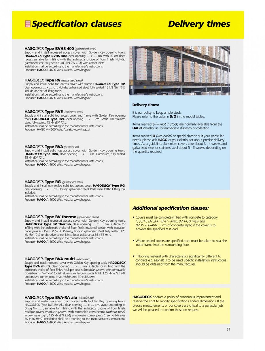Pagina 31 - Capace pentru camine de vizitare HAGODECK B STEEL, BV-GD AUTOMATIC STEEL, BV-GDZ...