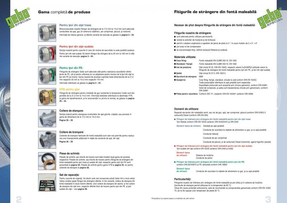 Pagina 2 - Fitinguri GEBO Fisa tehnica Romana entru ţevi din oţel sudate Vă oferim fitinguri de...