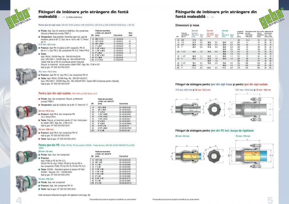 Pagina 3 - Fitinguri GEBO Fisa tehnica Romana  ■⒠ Acoperire:  Corp fiting, flanşă,...