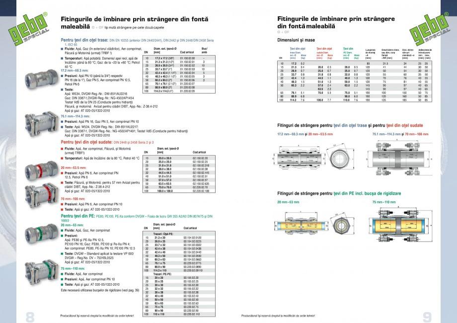 Pagina 5 - Fitinguri GEBO Fisa tehnica Romana  imediat după gama de produse respectivă: Piesele de...