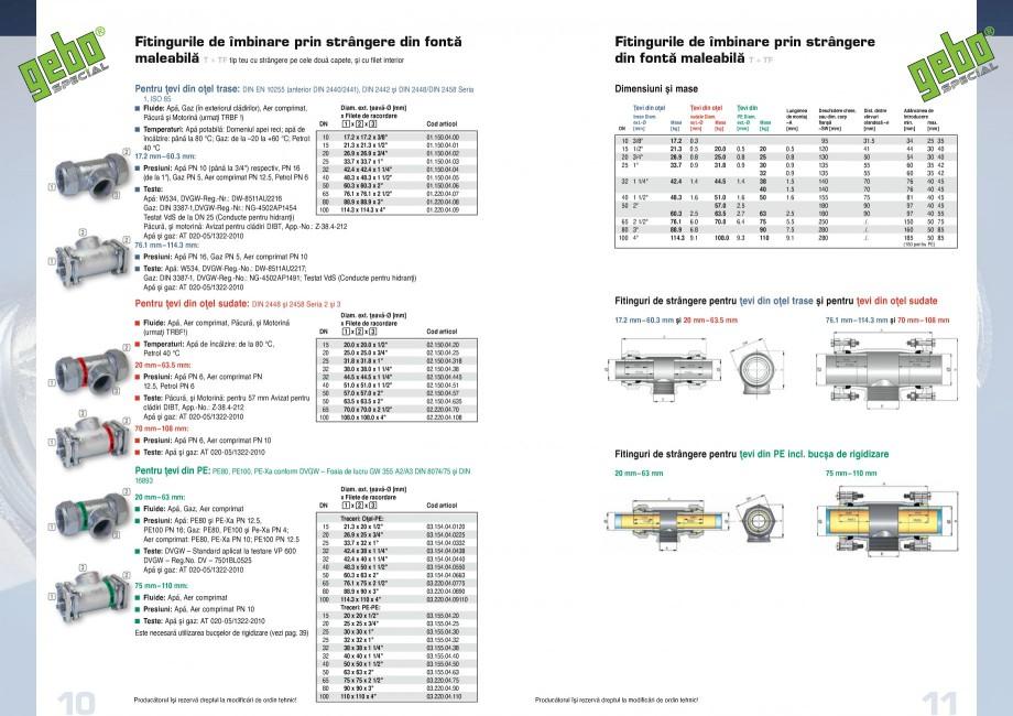 Pagina 6 - Fitinguri GEBO Fisa tehnica Romana nşare din oţel inox, respectiv diferite kituri de...