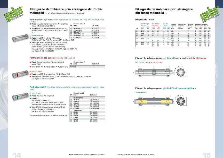 Pagina 8 - Fitinguri GEBO Fisa tehnica Romana 7-1, DVGW-Reg.-Nr.: NG-4502AP1454 Testat VdS de la DN ...