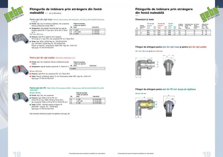 Pagina 10 - Fitinguri GEBO Fisa tehnica Romana TRBF!)  Temperaturi: apă de încălzire: de la 80...