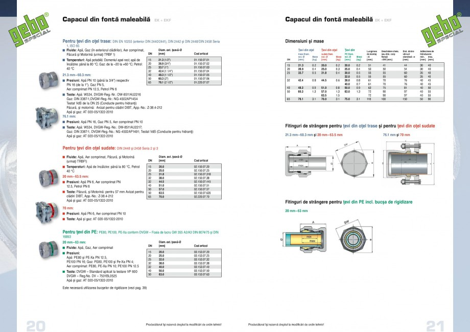 Pagina 11 - Fitinguri GEBO Fisa tehnica Romana ��110 mm  Pentru ţevi din PE: PE80, PE100, PE-Xa ...