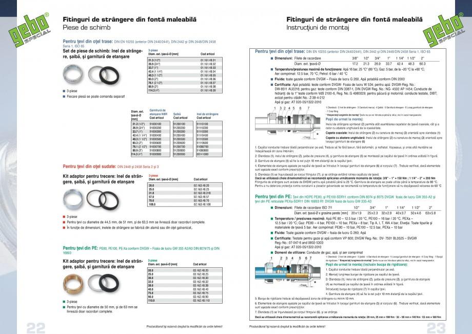Pagina 12 - Fitinguri GEBO Fisa tehnica Romana 03.220.00.0890 03.220.00.09110  4  Este necesară...