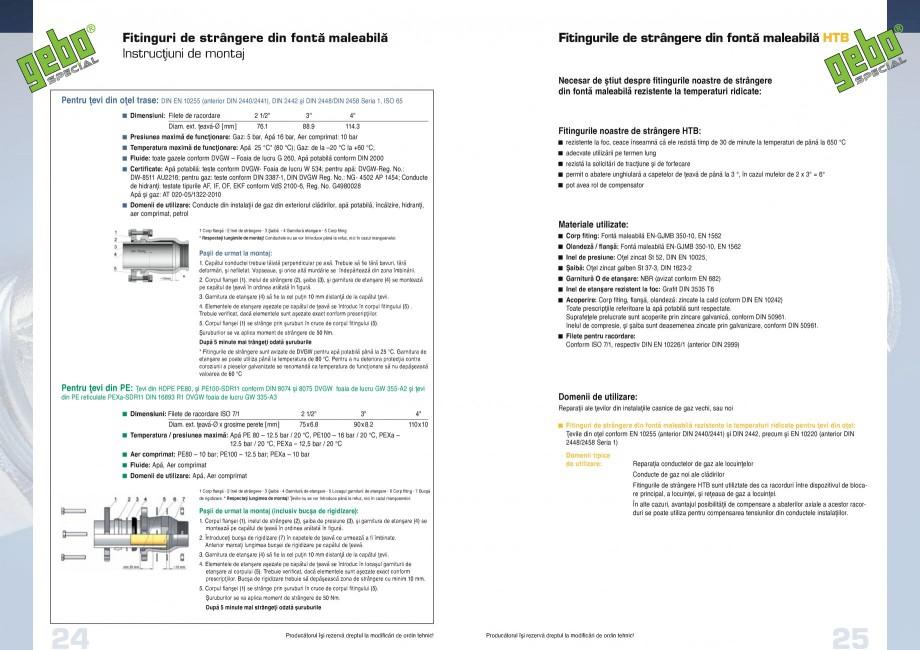 Pagina 13 - Fitinguri GEBO Fisa tehnica Romana DN 25 (Conducte pentru hidranţi)  DN x Diam. ext. ...