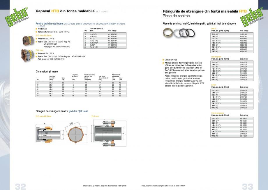 Pagina 17 - Fitinguri GEBO Fisa tehnica Romana W – Standard aplicat la testare VP 600 DVGW – Reg...