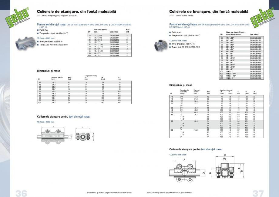 Pagina 19 - Fitinguri GEBO Fisa tehnica Romana  PN 12.5, Petrol PN 6   Teste: Apă: W534, DVGW-Reg....