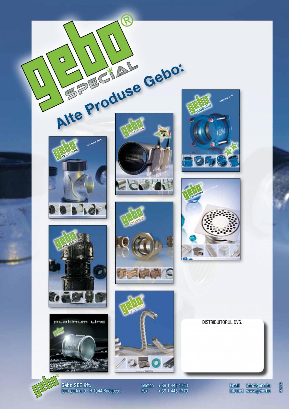 Pagina 21 - Fitinguri GEBO Fisa tehnica Romana mm–63.5 mm 76.1 mm–114.3 mm şi 70...