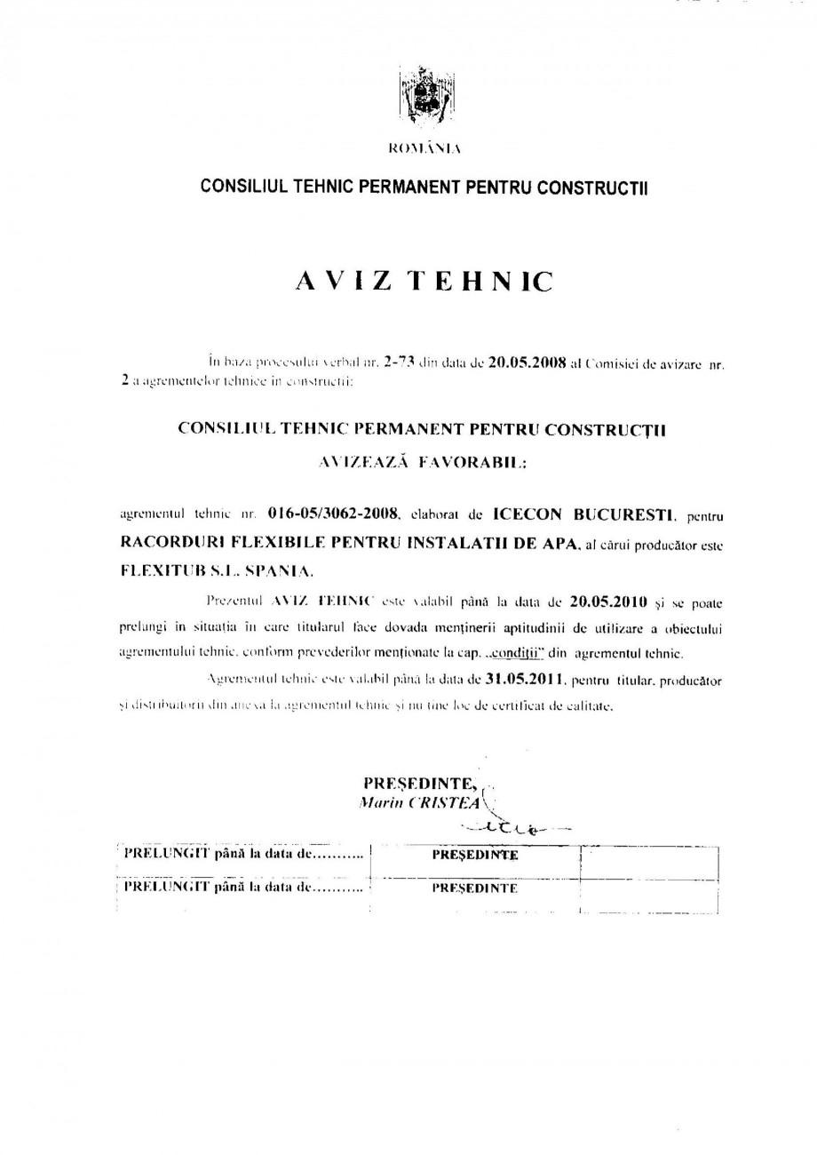 Pagina 1 - Racorduri flexibile pentru instalatii de apa HEKO Certificare produs Romana