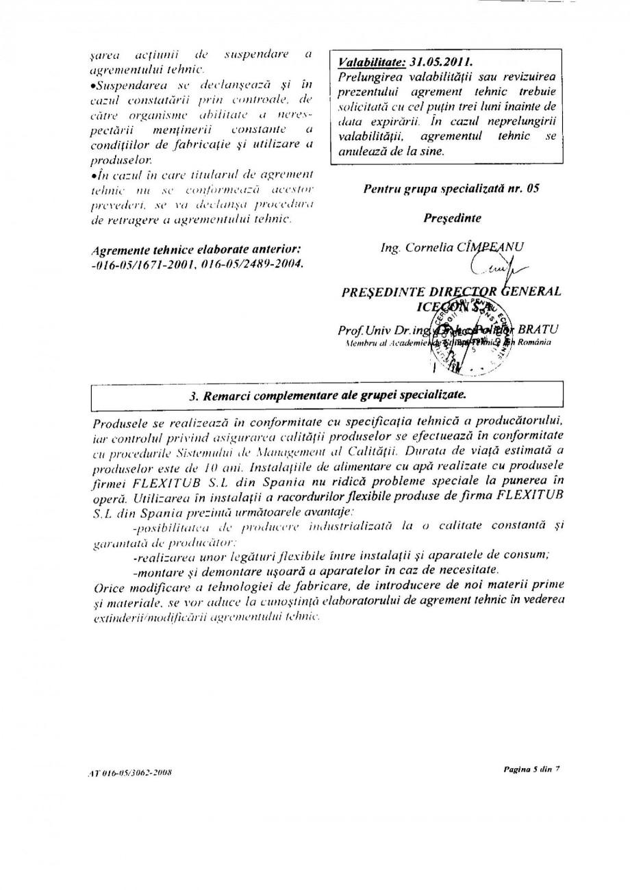 Pagina 7 - Racorduri flexibile pentru instalatii de apa HEKO Certificare produs Romana