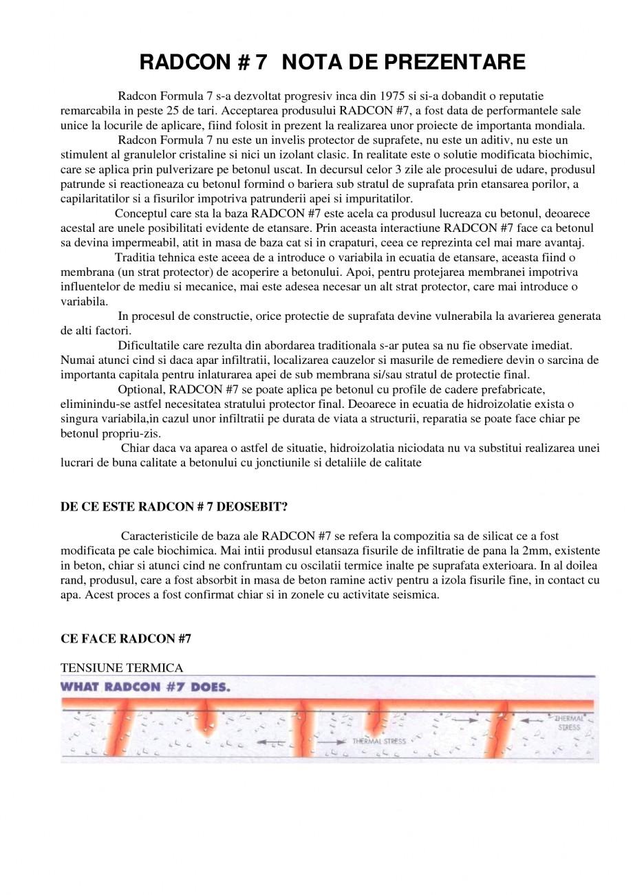 Pagina 1 - Tratament de impermeabilizare UNICO PROFIT RADCON FORMULA #7 Catalog, brosura Romana...
