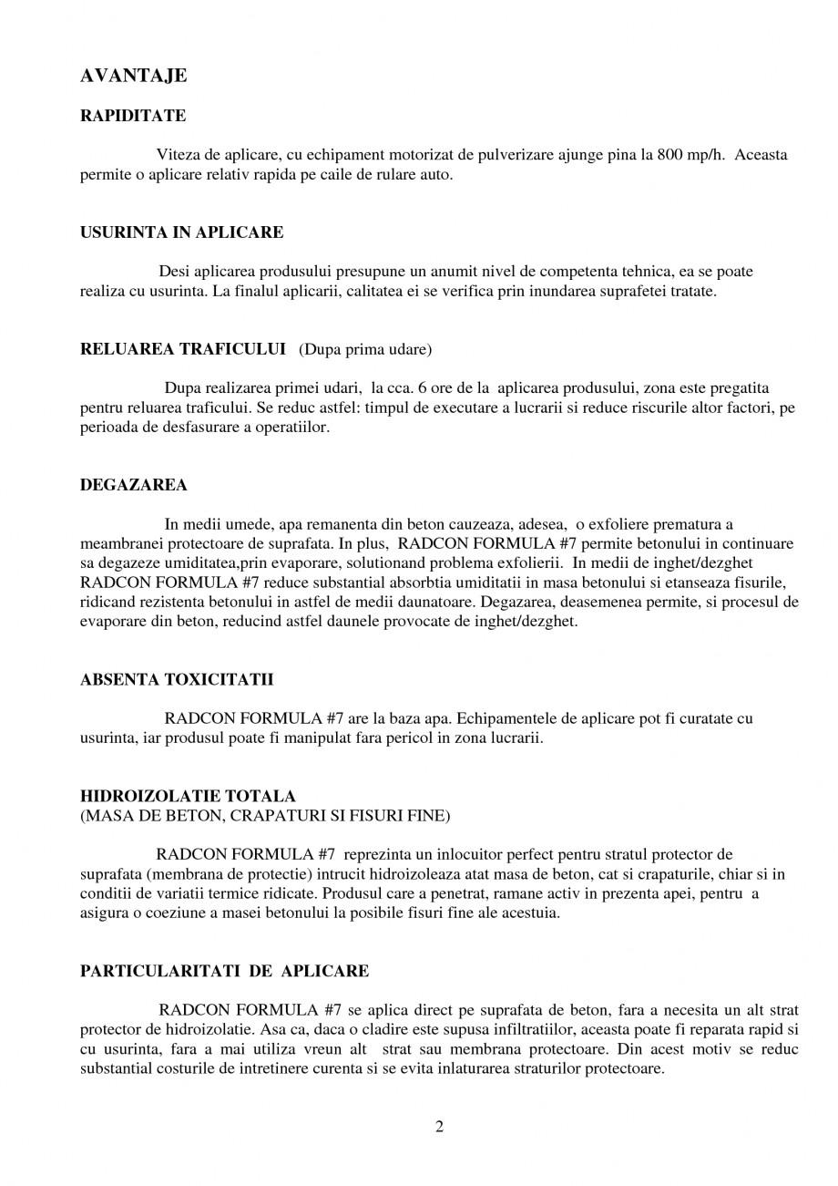 Pagina 2 - Tratament de impermeabilizare UNICO PROFIT RADCON FORMULA #7 Catalog, brosura Romana...