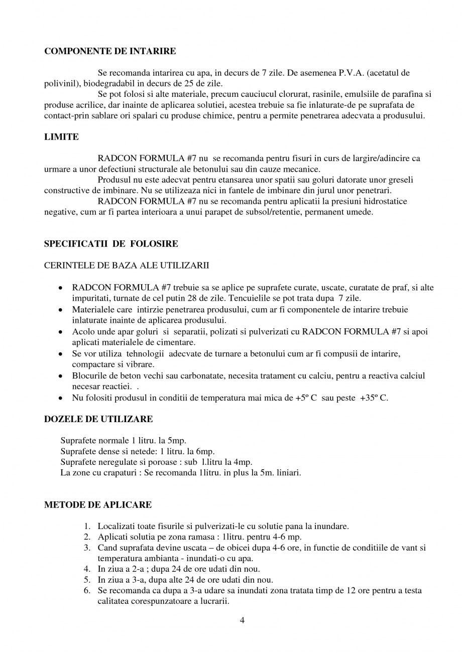 Pagina 4 - Tratament de impermeabilizare UNICO PROFIT RADCON FORMULA #7 Catalog, brosura Romana h. ...