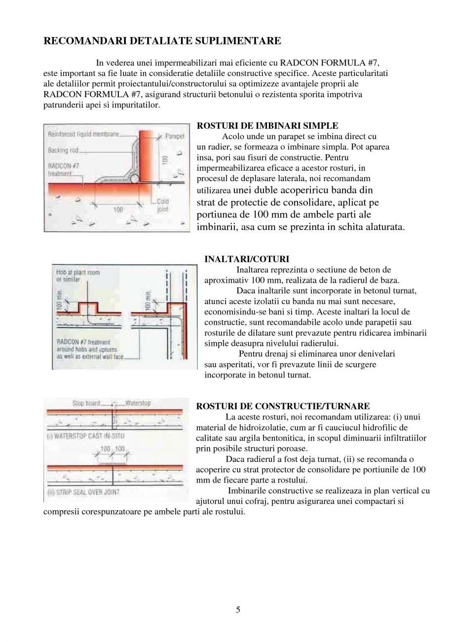 Pagina 5 - Tratament de impermeabilizare UNICO PROFIT RADCON FORMULA #7 Catalog, brosura Romana ii ...