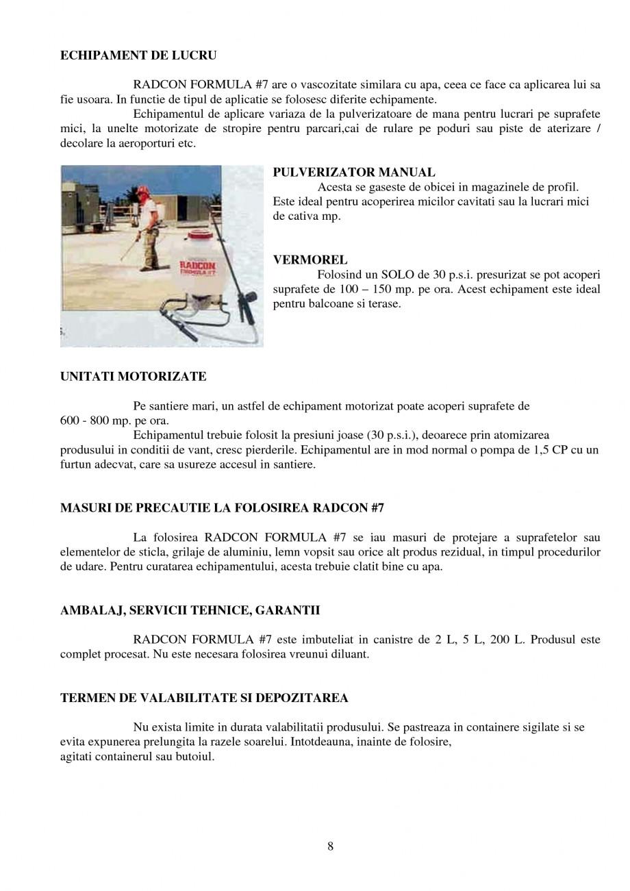 Pagina 8 - Tratament de impermeabilizare UNICO PROFIT RADCON FORMULA #7 Catalog, brosura Romana ale...