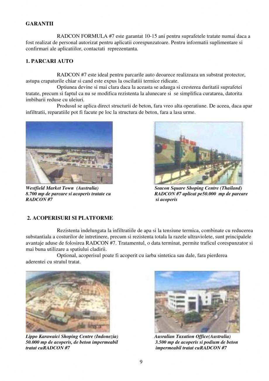 Pagina 9 - Tratament de impermeabilizare UNICO PROFIT RADCON FORMULA #7 Catalog, brosura Romana...