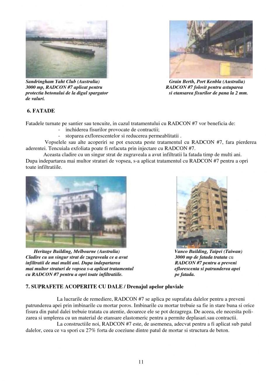 Pagina 11 - Tratament de impermeabilizare UNICO PROFIT RADCON FORMULA #7 Catalog, brosura Romana re...