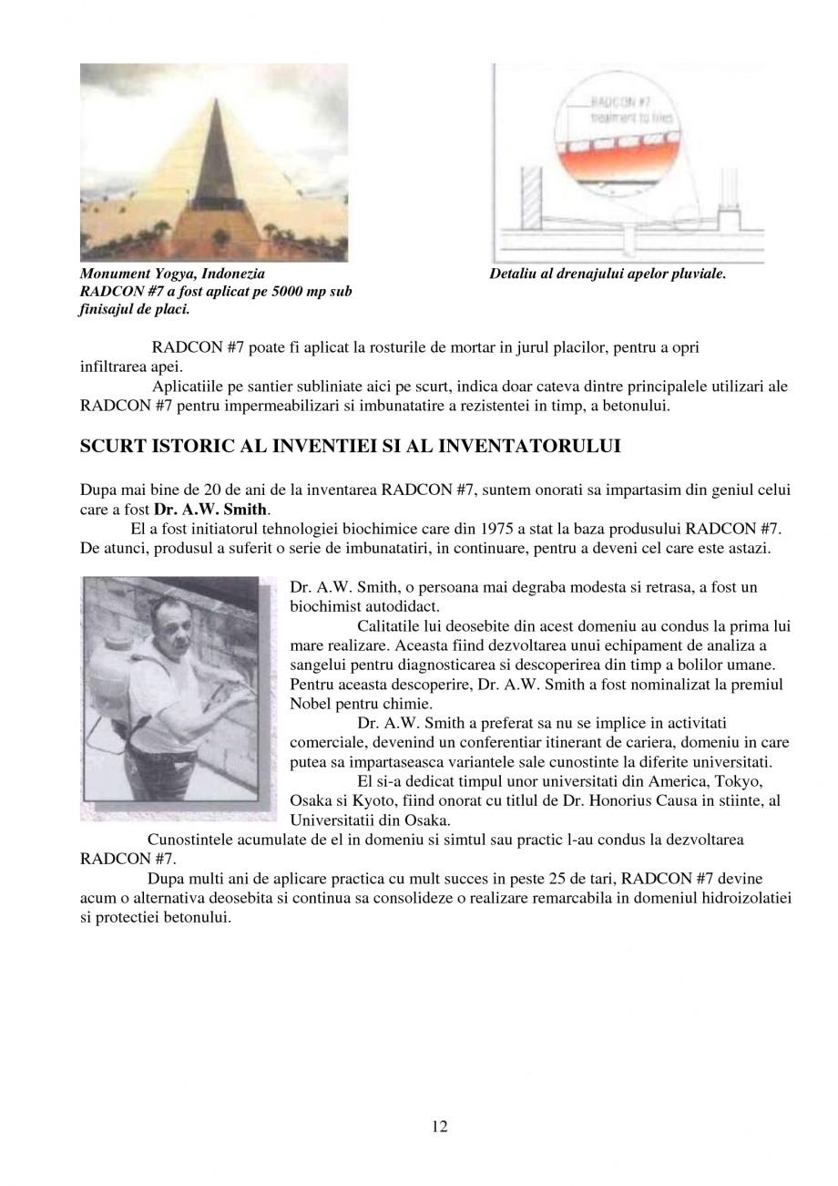 Pagina 12 - Tratament de impermeabilizare UNICO PROFIT RADCON FORMULA #7 Catalog, brosura Romana...