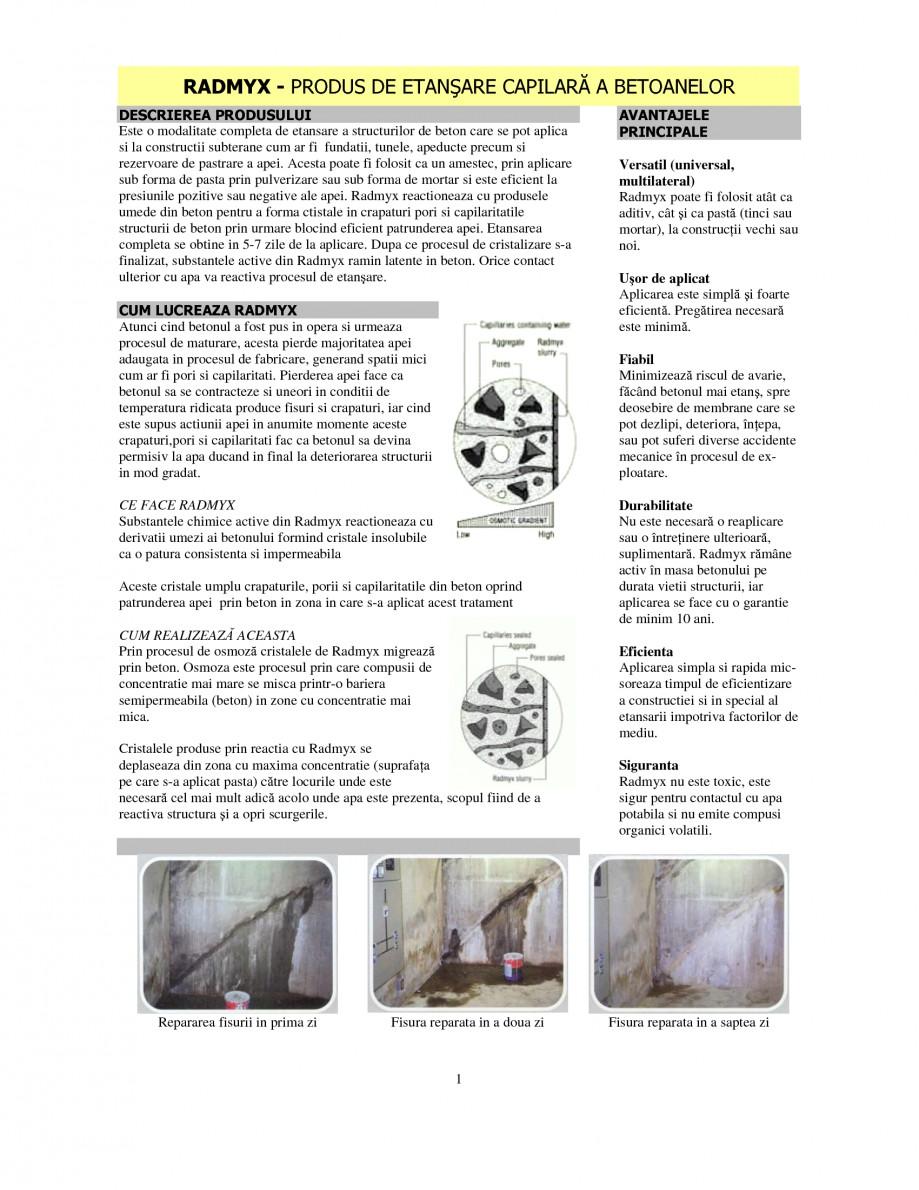 Pagina 1 - Produs de etansare capilara a betoanelor UNICO PROFIT RADMYX Catalog, brosura Romana...