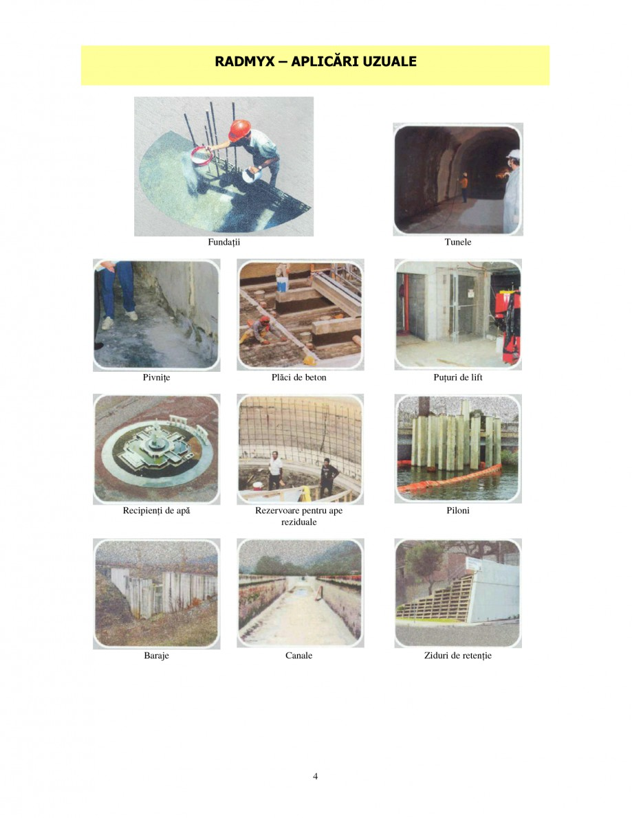 Pagina 4 - Produs de etansare capilara a betoanelor UNICO PROFIT RADMYX Catalog, brosura Romana...