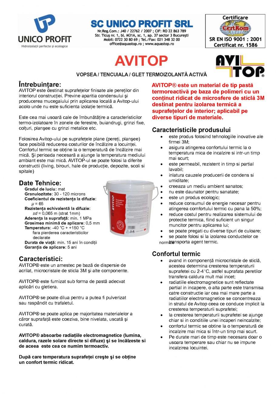 Pagina 1 - Glet-Vopsea-Tencuiala termoizolanta activa UNICO PROFIT AVITOP Fisa tehnica Romana...