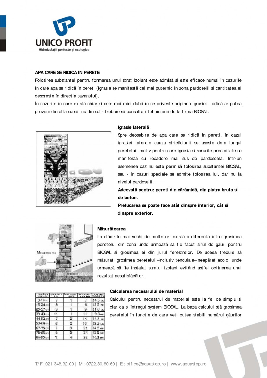 Pagina 2 - Produs antiigrasie UNICO PROFIT BIOSAL Instructiuni montaj, utilizare Romana rãmidã,...