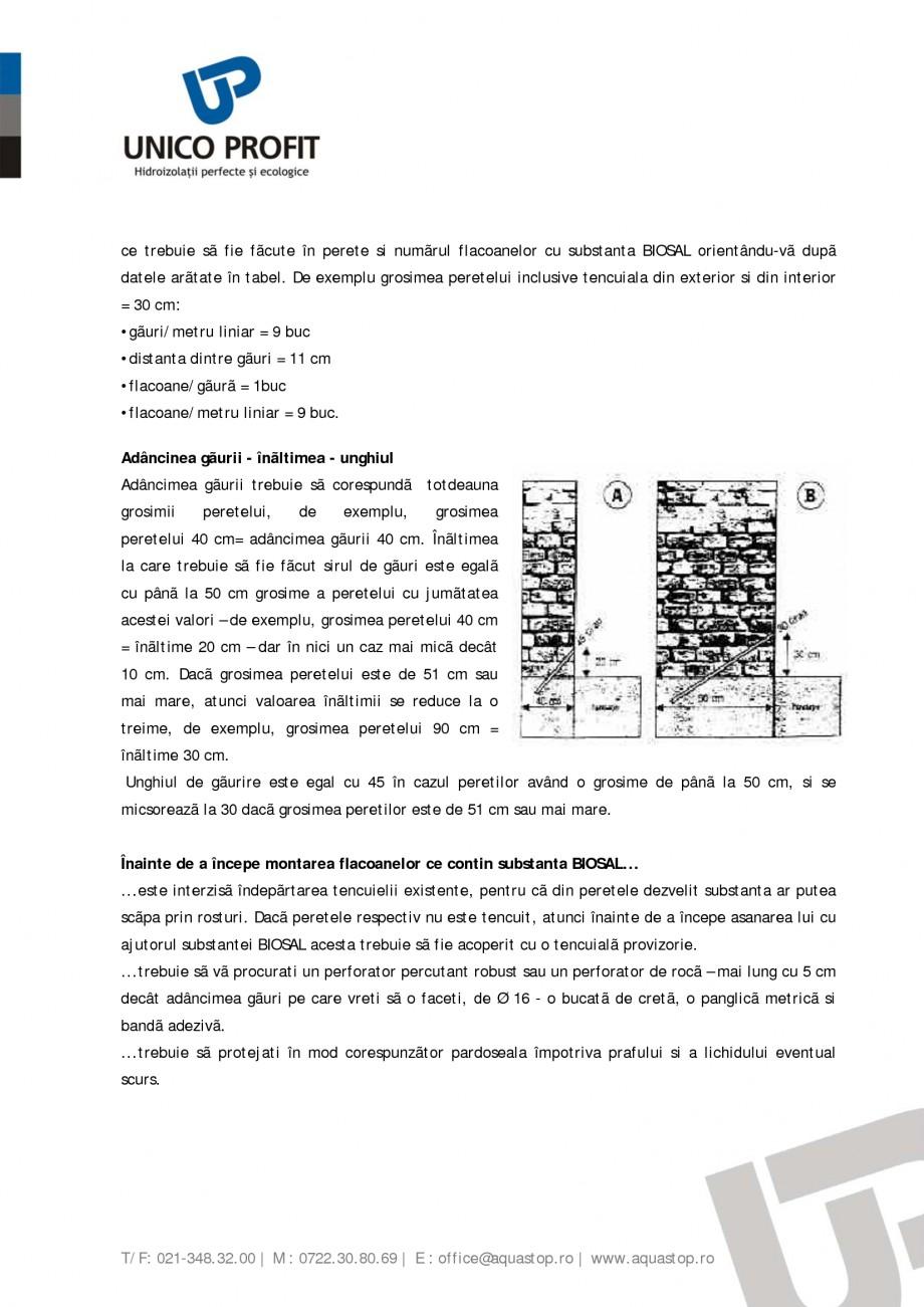 Pagina 3 - Produs antiigrasie UNICO PROFIT BIOSAL Instructiuni montaj, utilizare Romana usive...