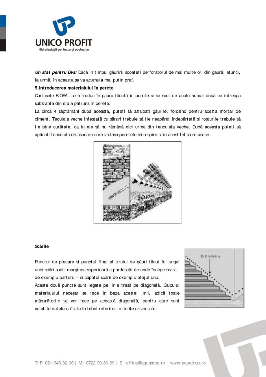 Pagina 5 - Produs antiigrasie UNICO PROFIT BIOSAL Instructiuni montaj, utilizare Romana ea la care ...