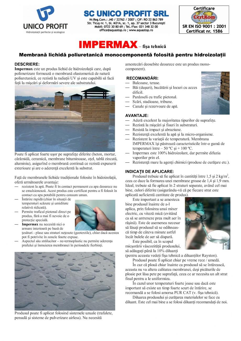 Pagina 1 - Membrana lichida poliuretanica pentru hidroizolatii UNICO PROFIT IMPERMAX Fisa tehnica...