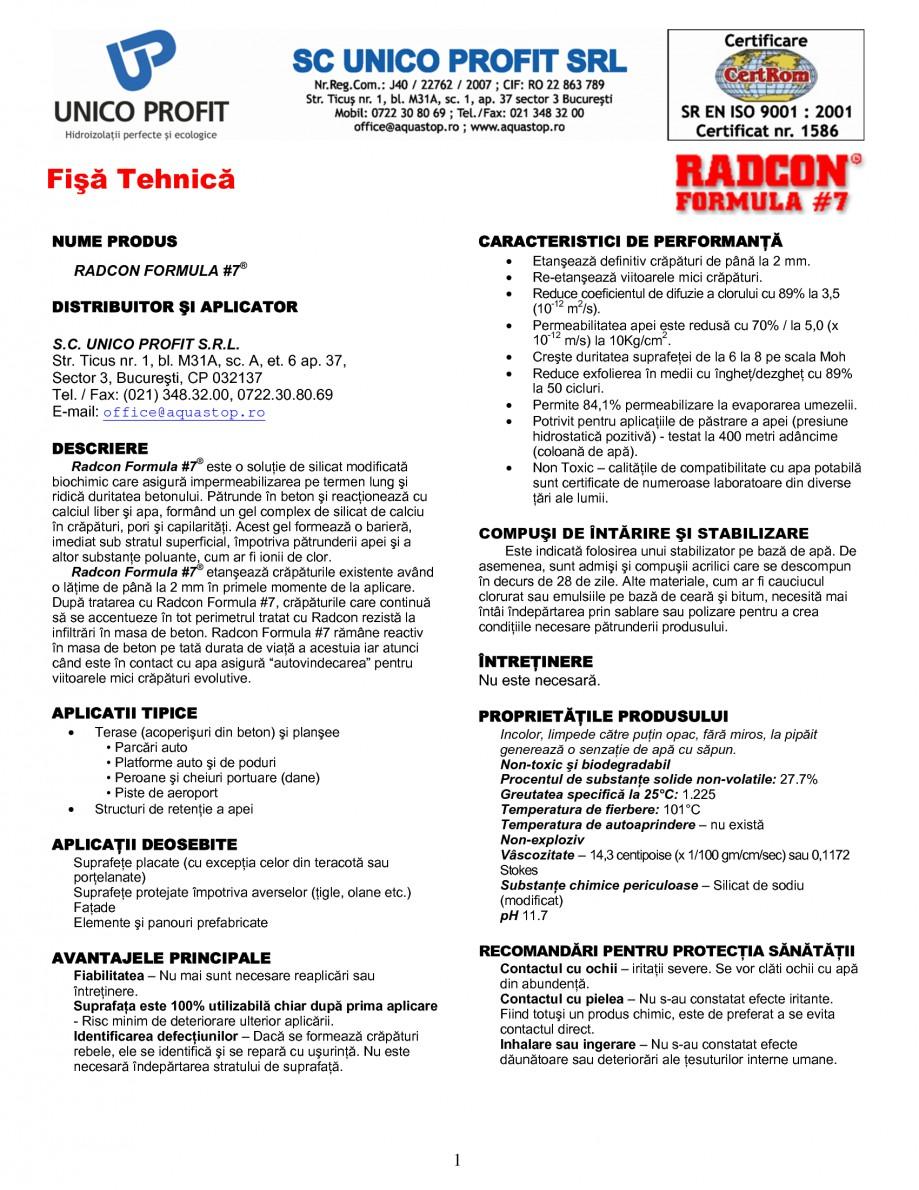Pagina 1 - Tratament de impermeabilizare UNICO PROFIT RADCON FORMULA #7 Fisa tehnica Romana Fişă ...