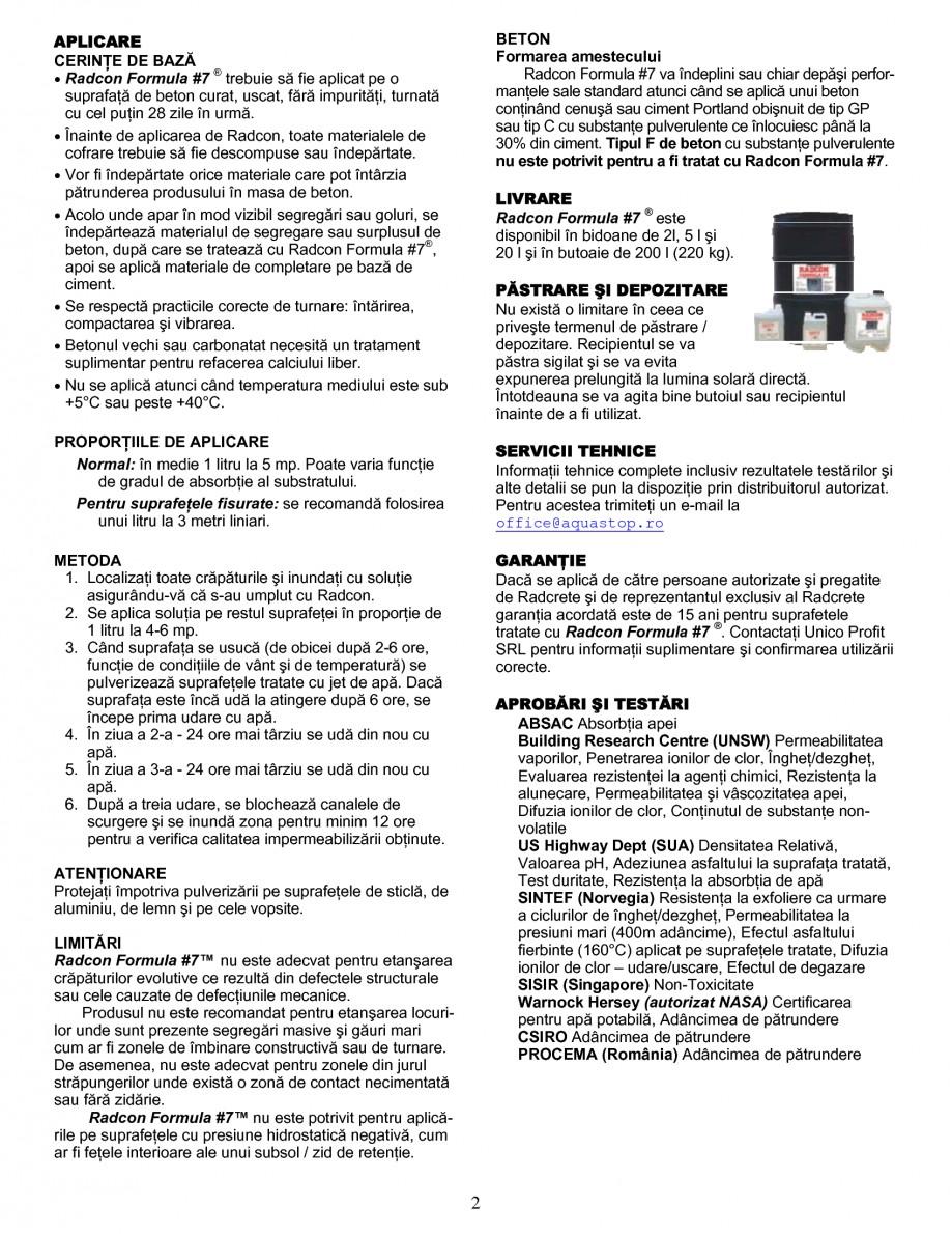 Pagina 2 - Tratament de impermeabilizare UNICO PROFIT RADCON FORMULA #7 Fisa tehnica Romana Formula...