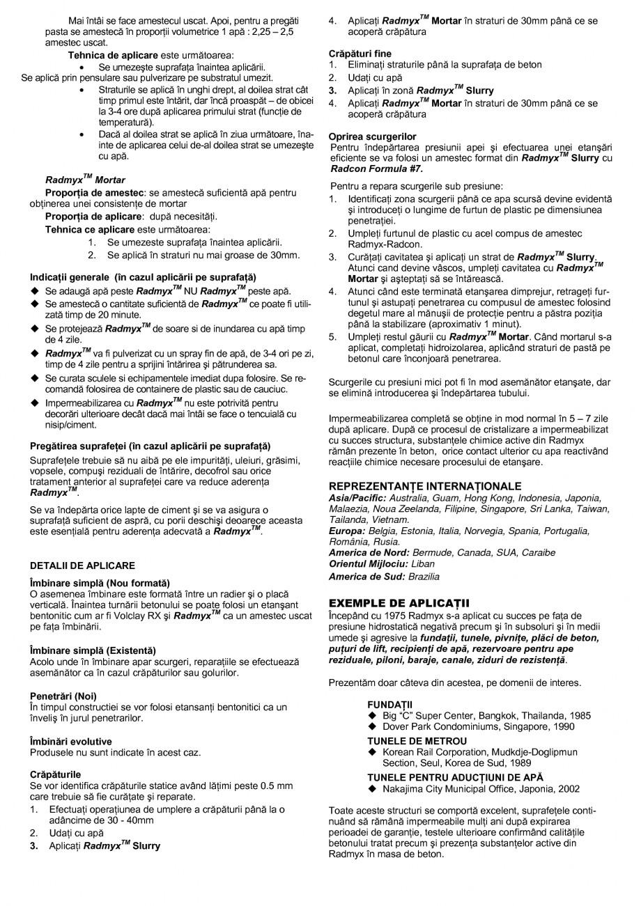 Pagina 2 - Sistem de impermeabilizare a capilaritatilor UNICO PROFIT RADMYX Fisa tehnica Romana...
