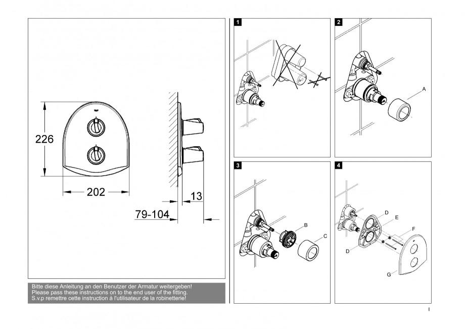instructiuni montaj utilizare baterii baie lavoare bideuri 19159 chiara grohe baterii. Black Bedroom Furniture Sets. Home Design Ideas