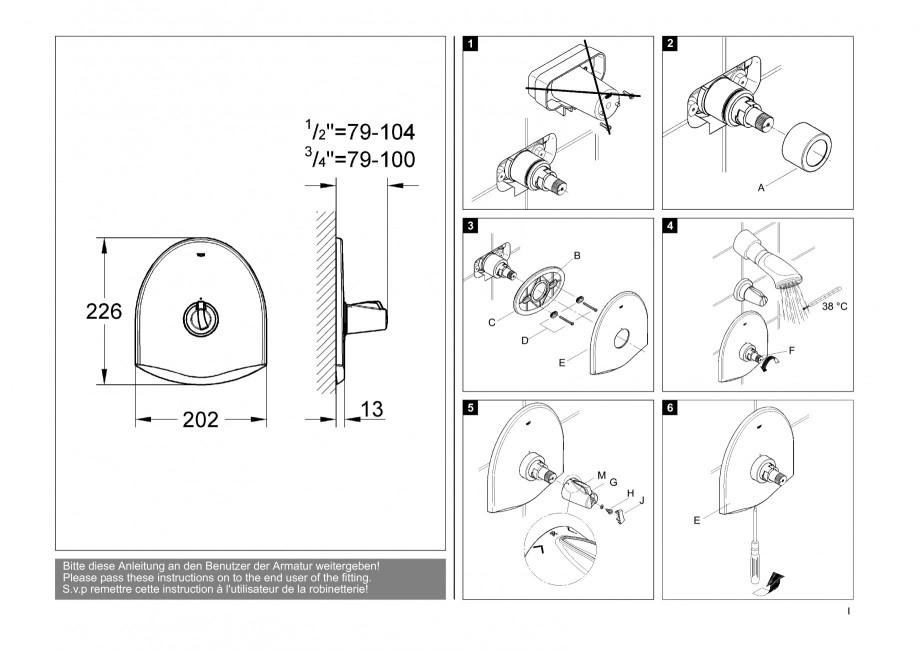 instructiuni montaj utilizare baterii baie lavoare bideuri 19161 chiara grohe baterii. Black Bedroom Furniture Sets. Home Design Ideas