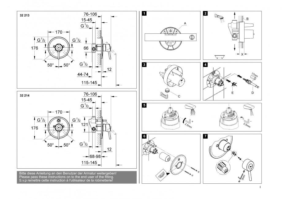 instructiuni montaj utilizare baterii baie lavoare bideuri 32213 32214 concetto grohe. Black Bedroom Furniture Sets. Home Design Ideas